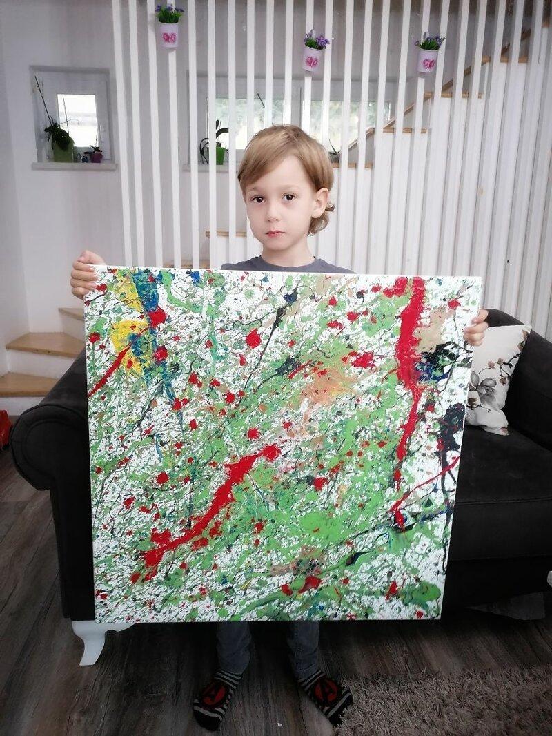 5-летний мальчик с аутизмом рисует особенные картины абстракционизм,аутизм,аутист,дети,живопись,искусство,картины,художник