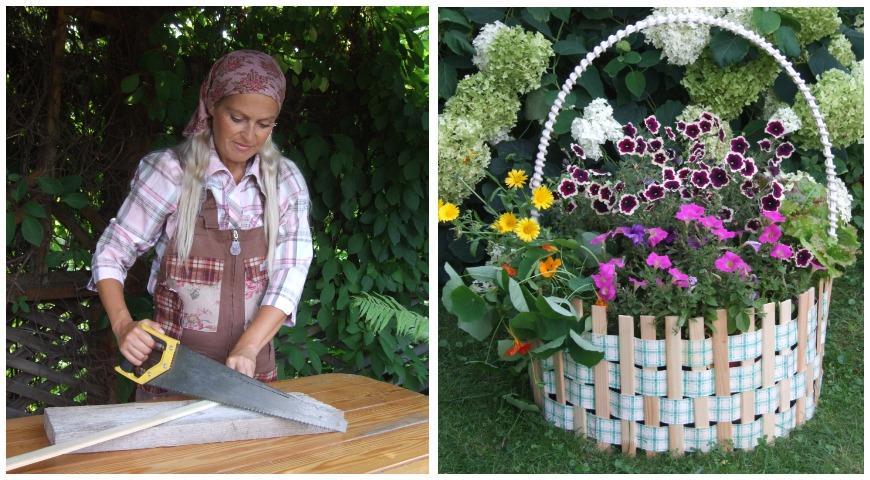 Садовая клумба в форме корзины