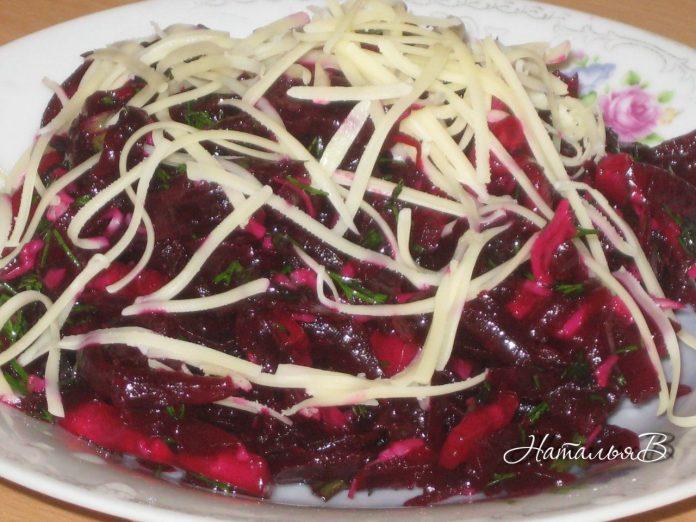 Очень интересный закусочный салатик из свеклы