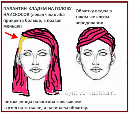 как завязать палантин на голове красиво