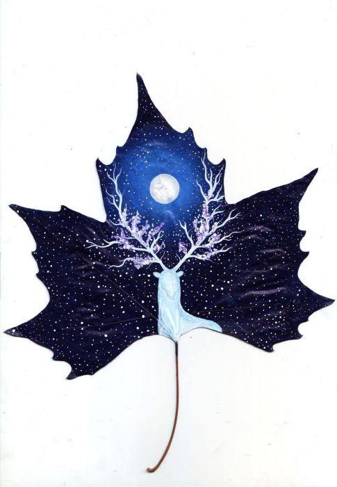 Шедевры на листьях: романтические картины влюблённой пары художников из Грузии красота,природа,творчество