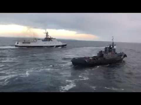 Полное видео тарана сторожевиком ФСБ украинского буксира у берегов Крыма