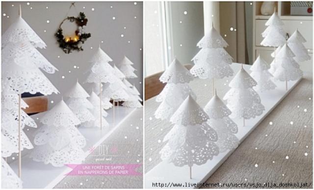 Простейшие елочки из бумаги (4 мастер-класса). Новогодний шар из атласных лент