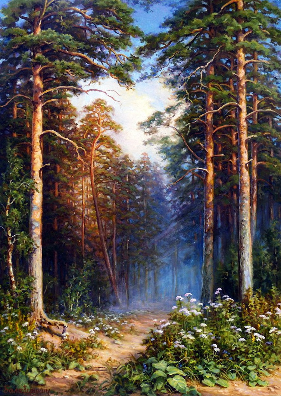 в сосновом лесу рисунок изготовления