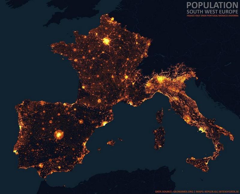 Карты плотности населения России, Европы, США и Австралии