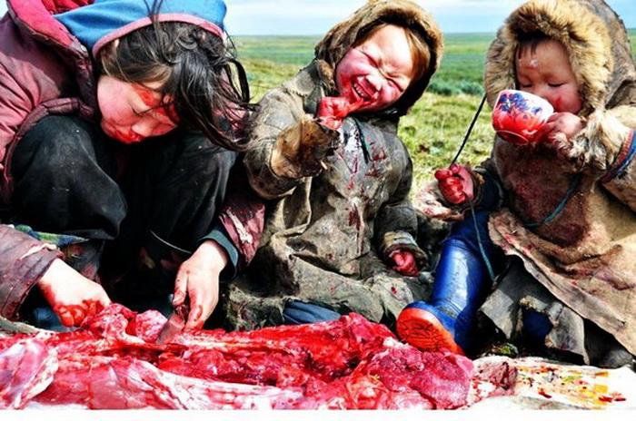 Дети едят свежую оленину. Фото: Reddit