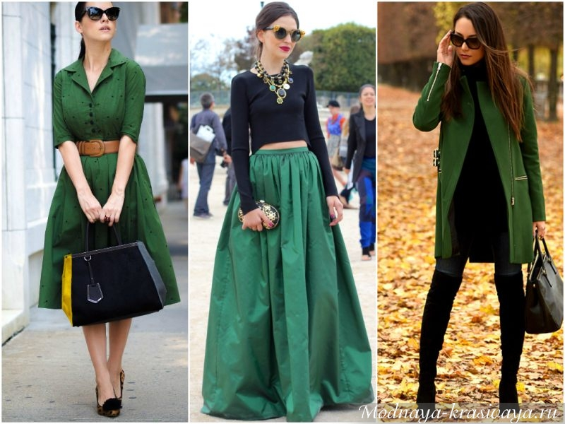 Зеленый цвет в одежде — самые выгодные сочетания изоражения
