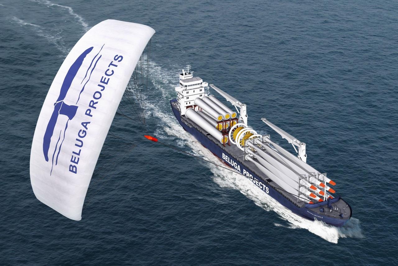 Грузовое судно с тягой в виде воздушного змея корабли,технологии,транспорт