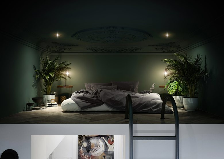 Спальня в цветах: Светло-серый, Серый, Темно-зеленый, Голубой. Спальня в стиле: Минимализм.