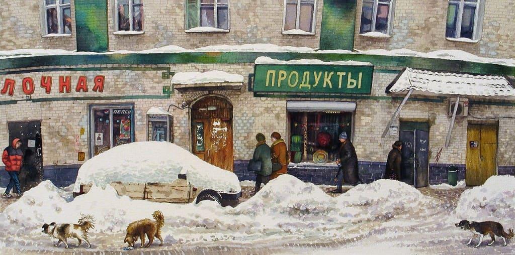 На старых улицах Москвы. Акварели Алёны Дергилёвой