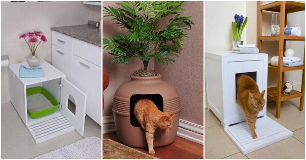 Как спрятать кошачий лоток? 10 полезных решений