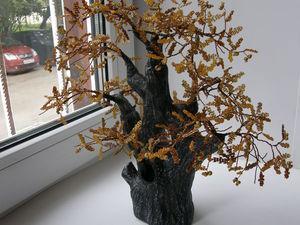 Осенний дуб. Создаем дерево из бисера с полноценными листочками