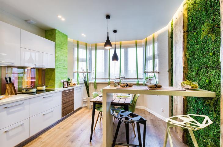 Дизайн кухни в типовой панельке: мох, камень и амбарные доски