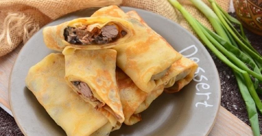 Классические блинчики с печенью и грибами: ну очень нежное блюдо