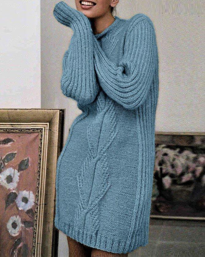 Просто связать тёплое платье спицами  вязание,женские хобби,рукоделие,своими руками