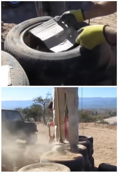 В каждую покрышку дачник поместил картон и засыпал песком. | Фото: motor2.info.