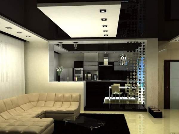 Черно-белый интерьер кухни гостиной в частном доме