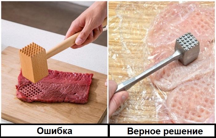 Если отбивать мясо без пленки, оно превратится в фарш