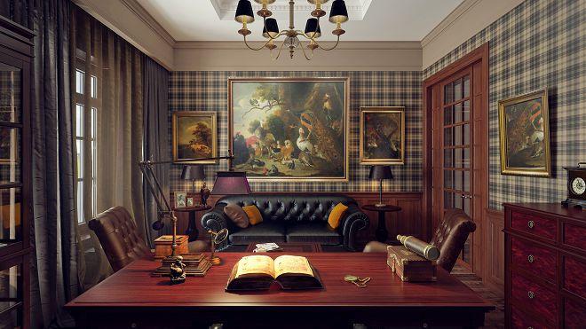 кабинет в английском стиле в квартире