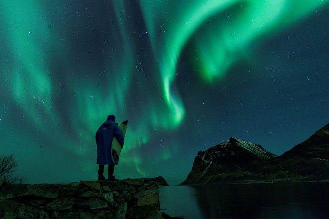 Арктический норвежский серфинг. Невероятное зрелище!
