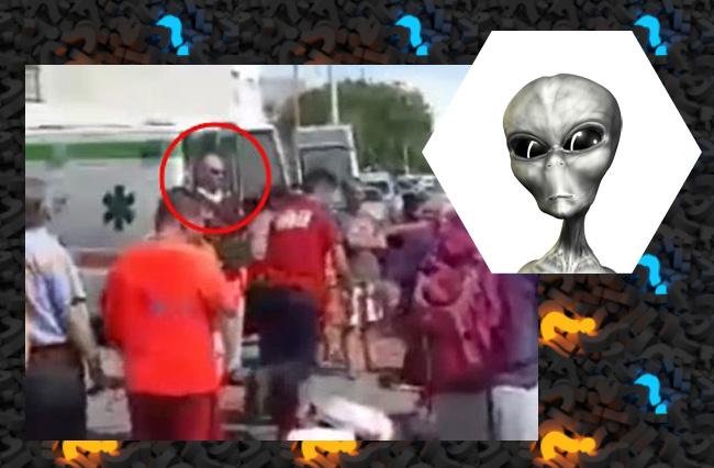На видео с места ДТП заметили странную фигуру. Пришелец?