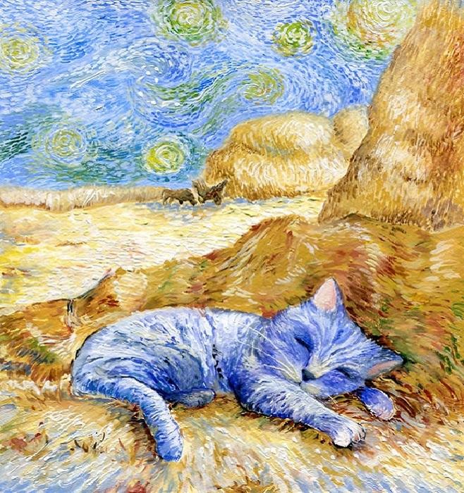 Очаровательные коты на портретах в стиле Ван Гога, Пикассо и других знаменитых художников