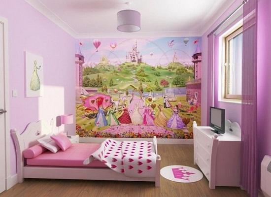 """Картинки по запросу """"Детская для девочек разного возраста с интересным панно на стене"""""""
