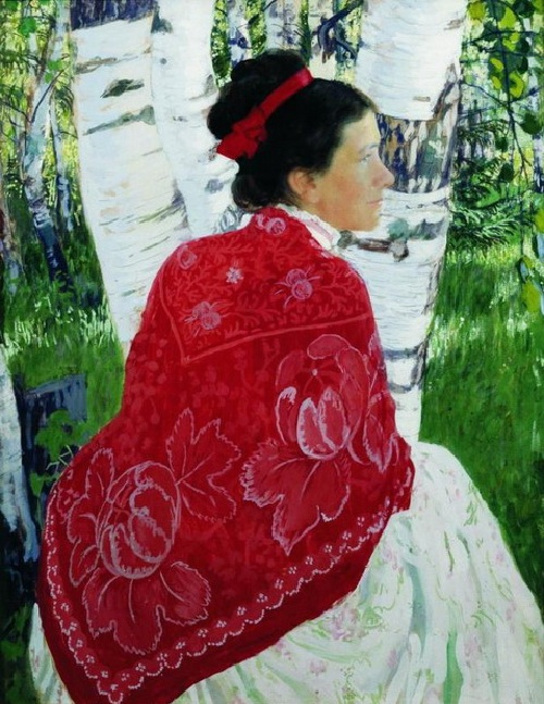 Портрет жены художника. (1909). Автор: Б.М.Кустодиев.