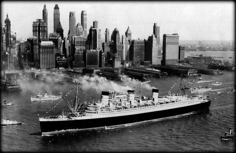 Британский суперлайнер RMS Queen Mary прибывает в Нью-Йорк, июнь 1937 года. история, ретро, фото