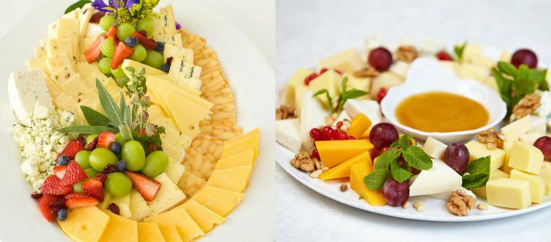 сырная тарелка с фруктами и орехами