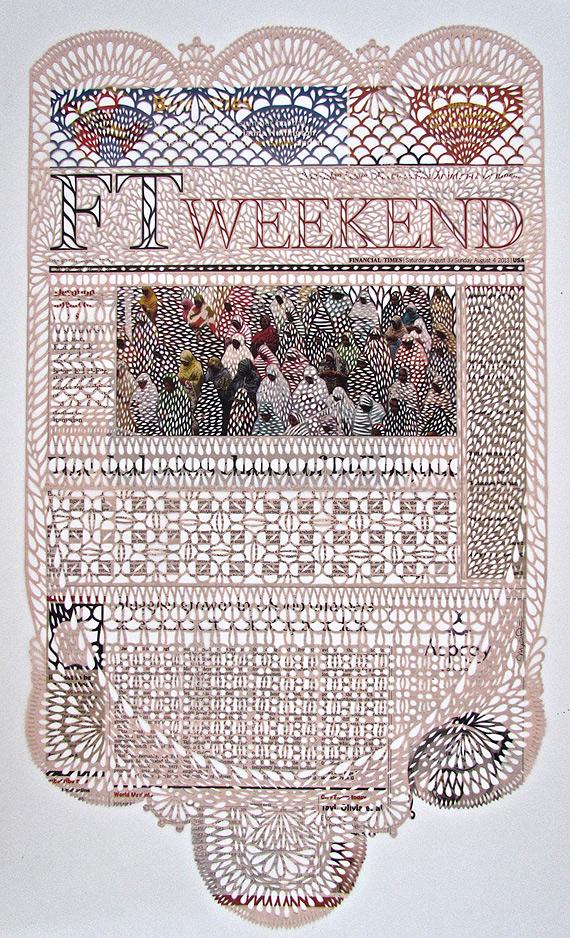 Узорные кружевные полотна из газет: новая жизнь старых вещей