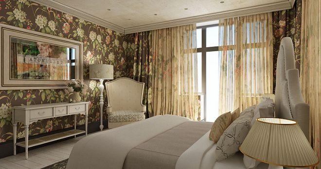 шторы в английском стиле для-спальни