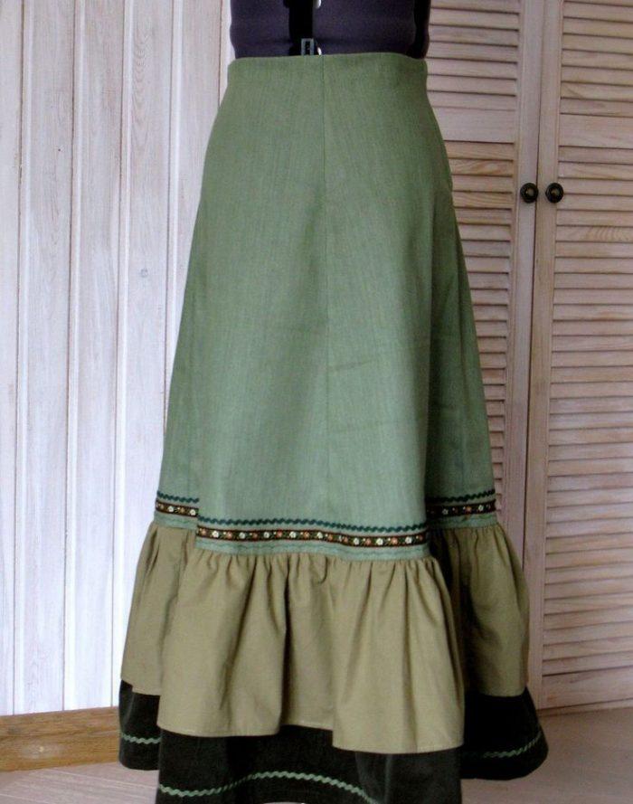 Бохо юбка с оборкой