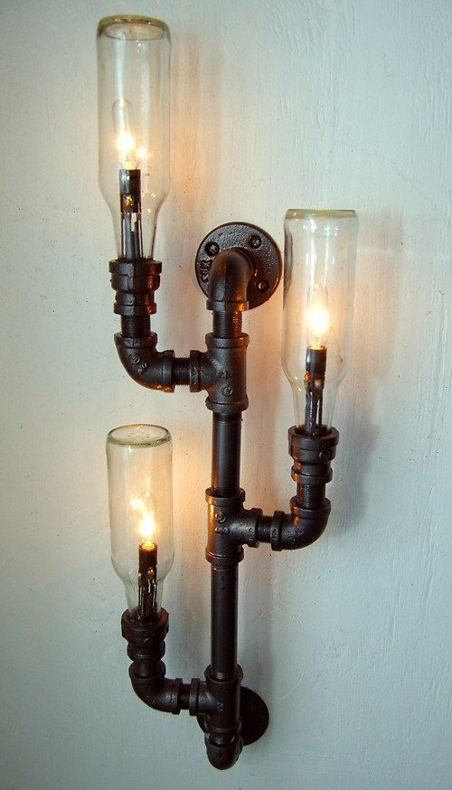 Лампы из использованных бутылок бутылки