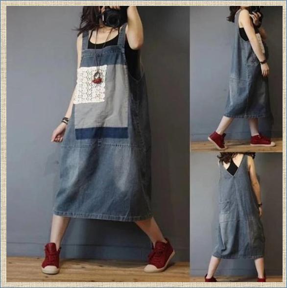 Джинсовые переделки в стиле бохо - стильно и нарядно - подборка платьев и сарафанов
