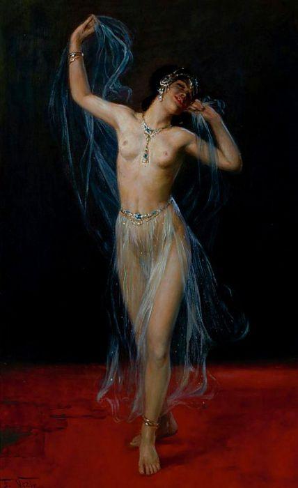 Фредерик Везин (Frederick Vezin), 1859-1942 Скрытая вуалью танцовщица (Schleier Tanzerin) (Veil Dancer).