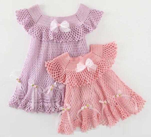 Нарядные платья крючком для маленьких принцесс. Букет из ваты для декора