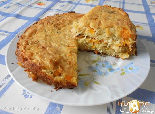 Шарлотка с капустой - рецепт пошаговый с фото