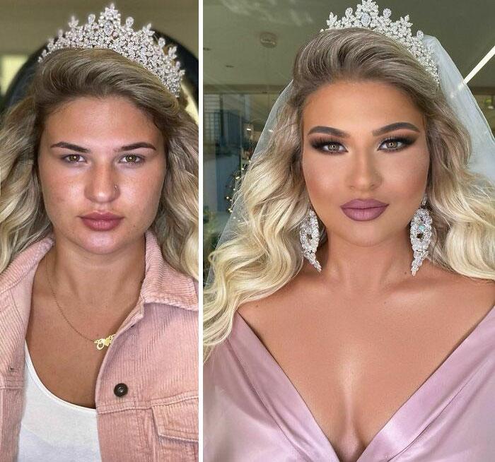 25 невест до и после макияжа, которые попали в руки профессионала и стали выглядеть как сказочные принцессы