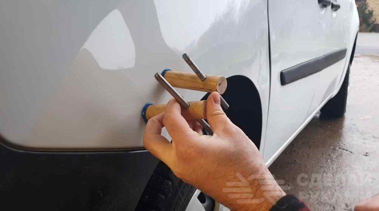 Как выпрямить вмятину на кузове автомобиля