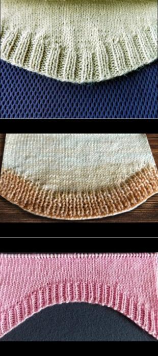 Закругленный низ вязаного изделия при вязании снизу вверх