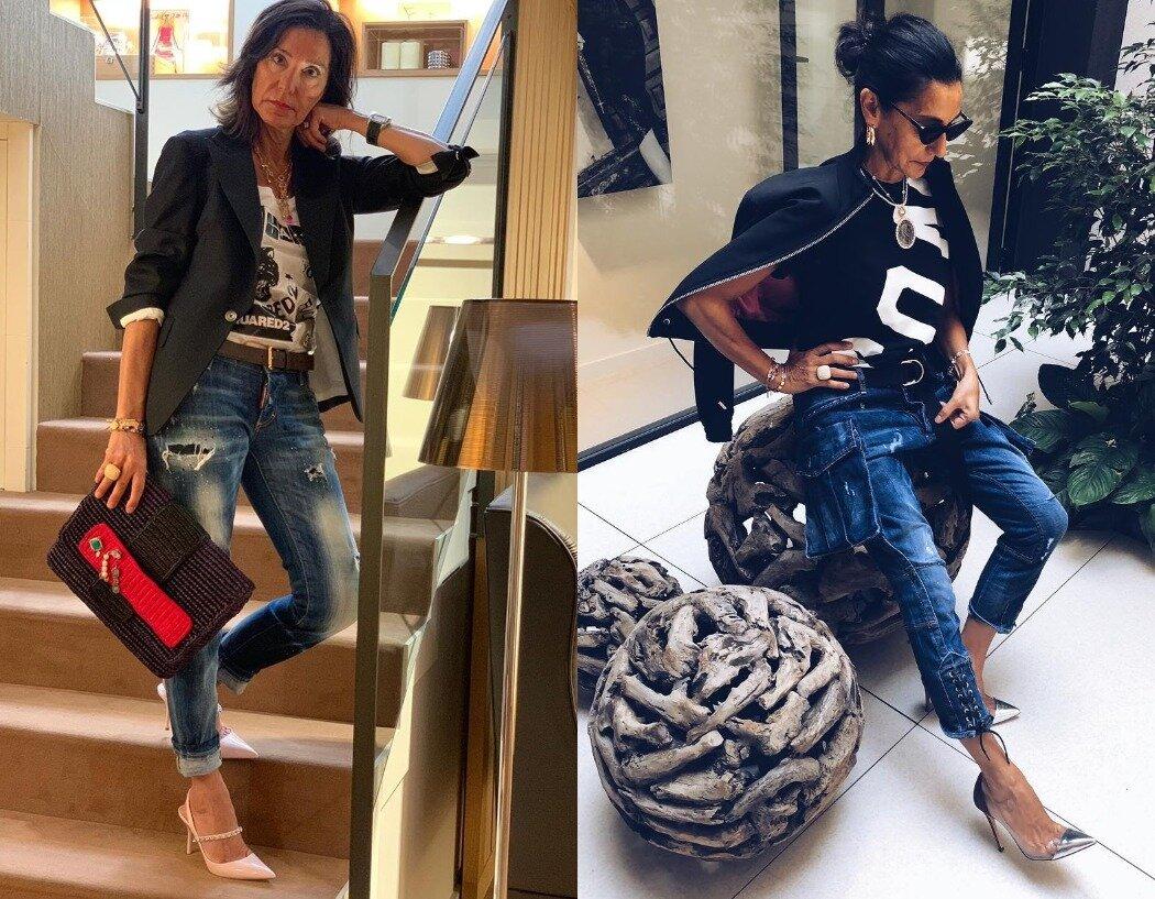 Комбинируйте рваные джинсы с классическими пиджаками, шелковыми рубашками или лодочками на каблуке