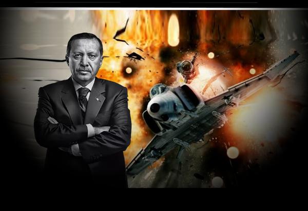 Эрдоган на фоне сбиваемого ракетой ПВО истребителя