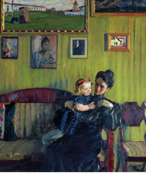 Жена Юлия с дочерью Ириной. (1908). Автор: Б.М.Кустодиев.