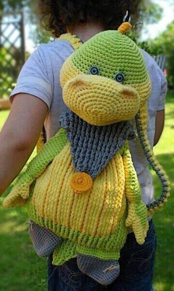 Вязаные рюкзачки для детей + мастер класс.  Вдохновляйтесь! handmake,вязание,куклы и игрушки,мастер-классы,поделки своими руками,разное,сумки