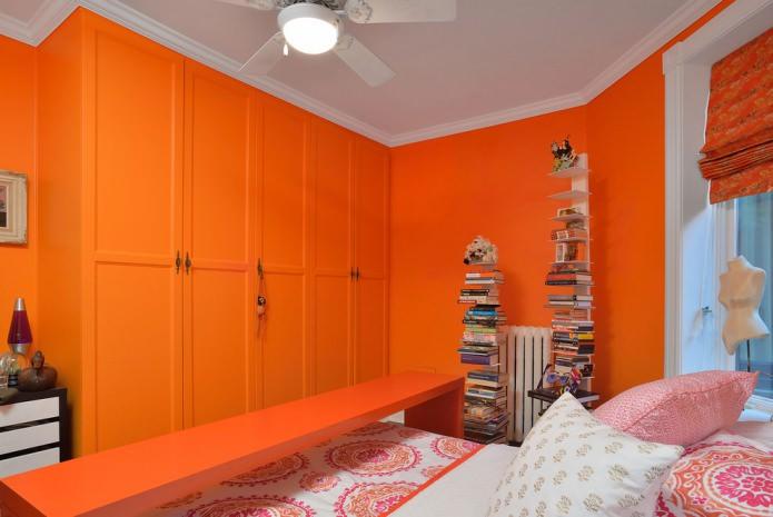 ярко-оранжевые шкафы