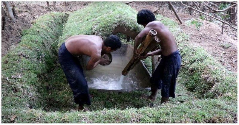 Строительство природного мини-бассейна с помощью примитивных технологий бассейн, видео, интересное, креатив, примитивные технологии, своими руками, строительство
