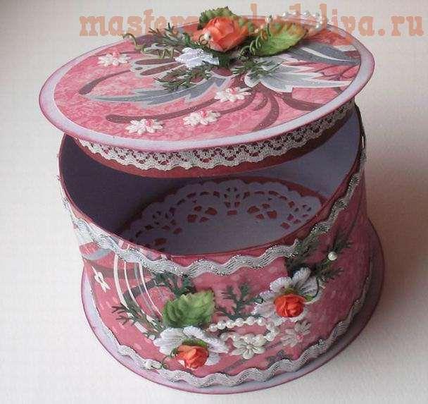 Круглая коробка для подарка в виде тортика — МК