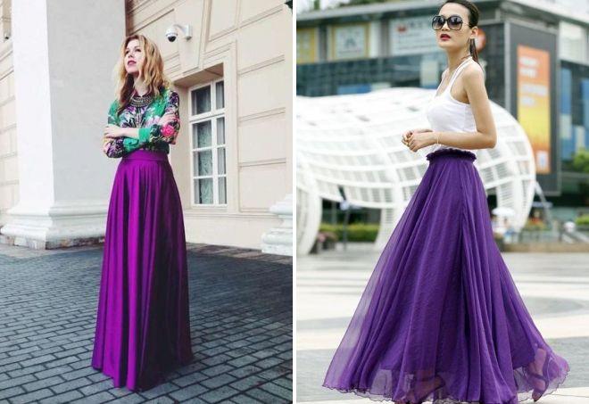 фиолетовая юбка в пол