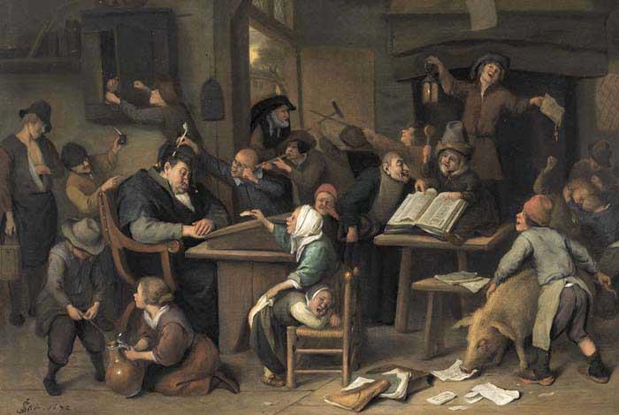 Ян Стен, «Школьный класс со спящим учителем», 1672 г.
